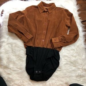 Vintage Lew Magram New York Suede Bodysuit
